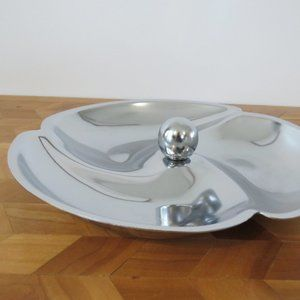 Mid Century Modern Atomic Chrome Serving Tray with 3 Sections, Heavy